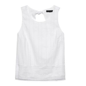 BANANA REPUBLIC Petite Eyelet Bow-Back Tank